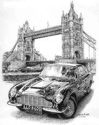 Tower Of London Drawing - 1965 Aston Martin Db5 by Gregory Whitt