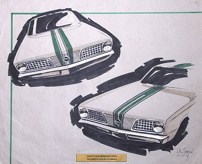 Imperial Drawing - 1966 Barracuda  Plymouth Vintage Styling Design Concept Rendering Sketch by John Samsen