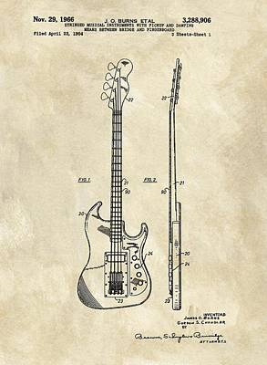 Music Drawings - 1966 Bass Guitar Patent by Dan Sproul