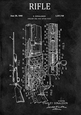 Drawing - 1966 Bolt Action Rifle Patent by Dan Sproul