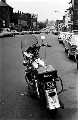 Photograph - 1966 Boston Police Motorcycle In Southie by Historic Image