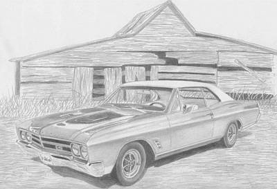Buick Drawing - 1966 Buick Skylark Gs Muscle Car Art Print by Stephen Rooks
