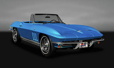 Photograph - 1966 C2 Chevrolet Corvette Convertible  -  1966vettegry9539 by Frank J Benz