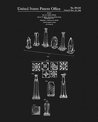 1966 Chess Pieces Patent Art Print by Dan Sproul