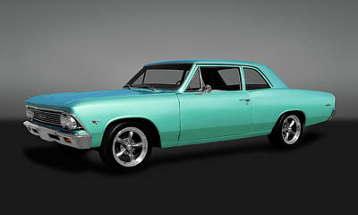 Photograph - 1966 Chevelle 300 Deluxe Sedan  -  1966chevychevelle300gry173410 by Frank J Benz