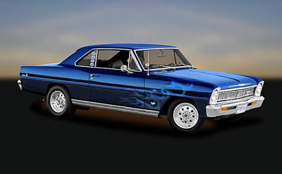 Photograph - 1966 Chevy II Nova Sport Coupe  -  1966bluechevyiinova_141190 by Frank J Benz