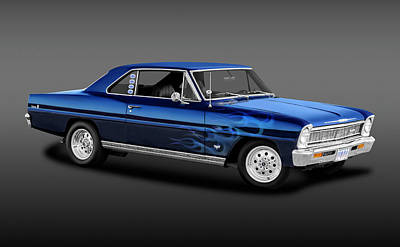 Photograph - 1966 Chevy II Nova Sport Coupe  -  1966bluechevynovafa_141190 by Frank J Benz