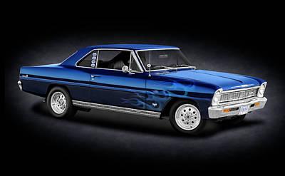 Photograph - 1966 Chevy II Nova Sport Coupe  -  66bluechevnovaiispottext_141190 by Frank J Benz