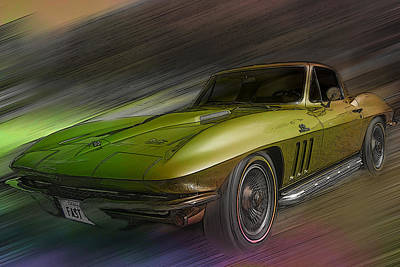 Speeding Chevrolet Photograph - 1966 Corvette by Larry Helms
