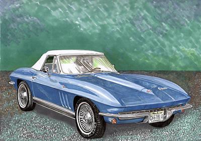 Corvette Drawing - 1966 Corvette Rag-top S.r. by Jack Pumphrey