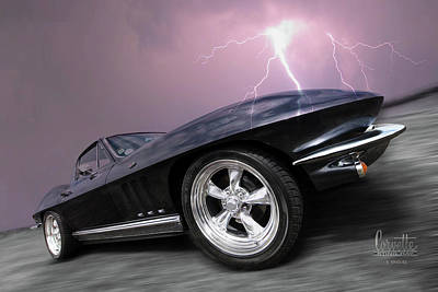 Old Chevy Photograph - 1966 Corvette Stingray With Lightning by Gill Billington