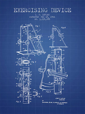 Weightlifting Wall Art - Digital Art - 1966 Exercising Device Patent Spbb05_bp by Aged Pixel
