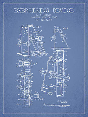 Weightlifting Wall Art - Digital Art - 1966 Exercising Device Patent Spbb05_lb by Aged Pixel