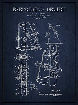 Weightlifting Wall Art - Digital Art - 1966 Exercising Device Patent Spbb05_nb by Aged Pixel