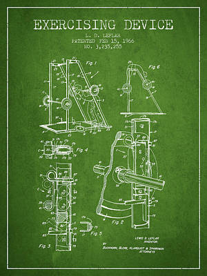 Weightlifting Wall Art - Digital Art - 1966 Exercising Device Patent Spbb05_pg by Aged Pixel