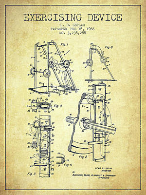 Weightlifting Wall Art - Digital Art - 1966 Exercising Device Patent Spbb05_vn by Aged Pixel
