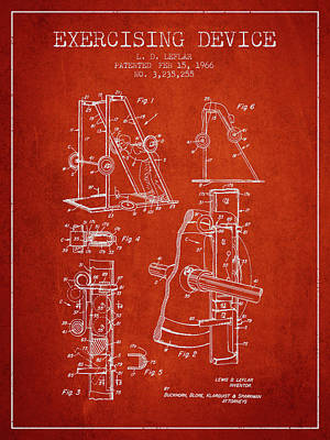 Weightlifting Wall Art - Digital Art - 1966 Exercising Device Patent Spbb05_vr by Aged Pixel