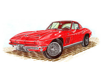 Painting - 1966 Fastback Corvette by Jack Pumphrey