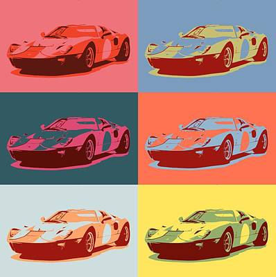 Mixed Media - 1966 Ford Gt40 Pop Art by Dan Sproul