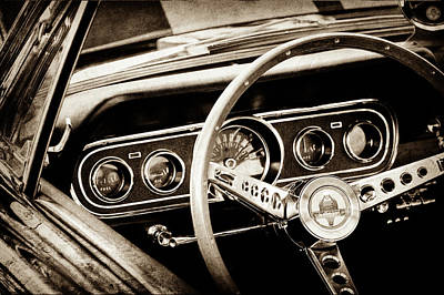 1966 Ford Mustang Cobra Steering Wheel -0338s Art Print