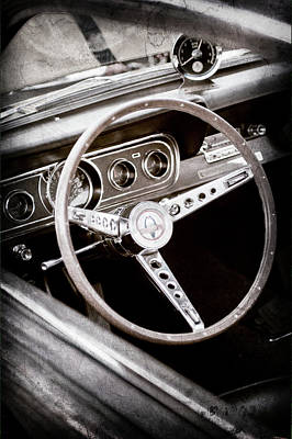 Photograph - 1966 Ford Mustang Cobra Steering Wheel Emblem -0091ac by Jill Reger