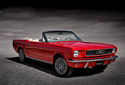 Selective Color Digital Art - 1966 Ford Mustang Convertible by Douglas Pittman
