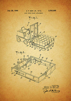 Mixed Media - 1966 Forklift Clamp Patent by Dan Sproul