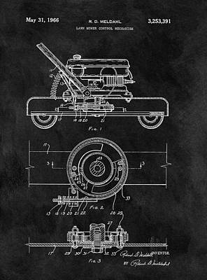 Landscapes Drawings - 1966 Lawn Mower Patent Image by Dan Sproul