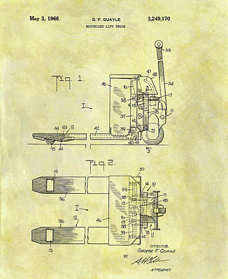 Mixed Media - 1966 Lift Truck Patent by Dan Sproul