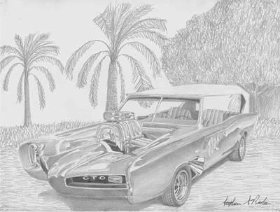 Pontiac Drawing - 1966 Monkeemobile Muscle Car Art Print by Stephen Rooks