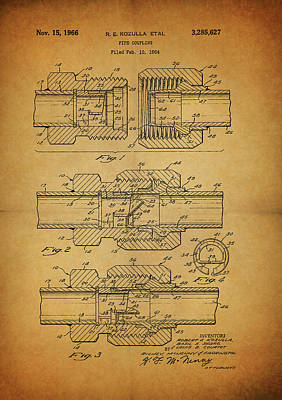 Mixed Media - 1966 Pipe Coupling Patent by Dan Sproul