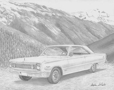 Roadrunner Drawing - 1966 Plymouth Satellite Muscle Car Art Print by Stephen Rooks