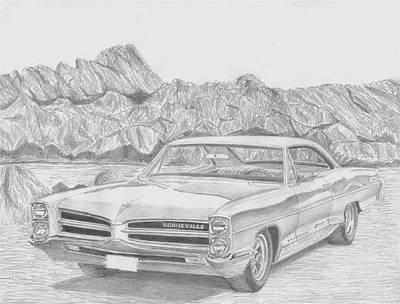 Pontiac Drawing - 1966 Pontiac Bonneville Classic Car Art Print by Stephen Rooks