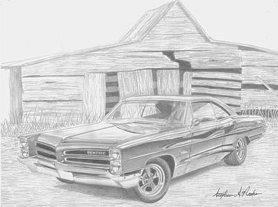 Pontiac Drawing - 1966 Pontiac Catalina Classic Car Art Print by Stephen Rooks