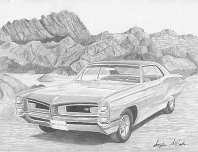 Pontiac Drawing - 1966 Pontiac Grand Prix Classic Car Art Print by Stephen Rooks