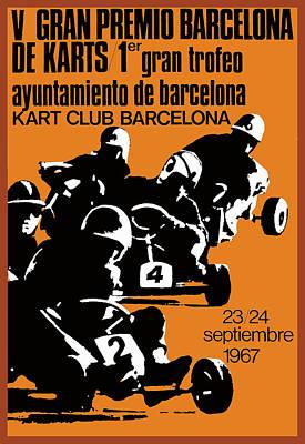 Go Kart Wall Art - Digital Art - 1967 Barcelona Kart Racing Poster by Retro Graphics