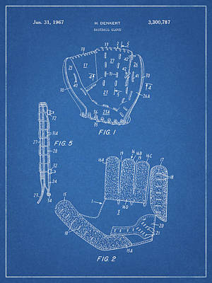 Drawing - 1967 Baseball Glove Patent by Dan Sproul