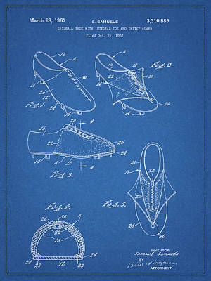 Drawing - 1967 Baseball Shoe Patent by Dan Sproul