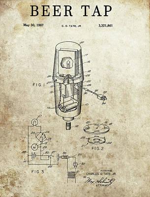Beer Drawings - 1967 Beer Tap by Dan Sproul