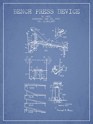 Weightlifting Wall Art - Digital Art - 1967 Bench Press Device Patent Spbb06_lb by Aged Pixel