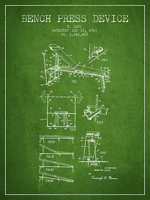 Weightlifting Wall Art - Digital Art - 1967 Bench Press Device Patent Spbb06_pg by Aged Pixel