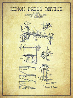 Weightlifting Wall Art - Digital Art - 1967 Bench Press Device Patent Spbb06_vn by Aged Pixel