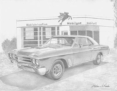 Buick Drawing - 1967 Buick Skylark Gs Muscle Car Art Print by Stephen Rooks