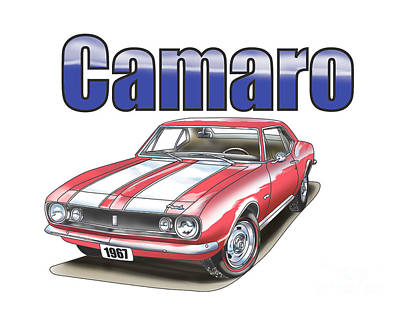Art Print featuring the digital art 1967 Camaro by Thomas J Herring