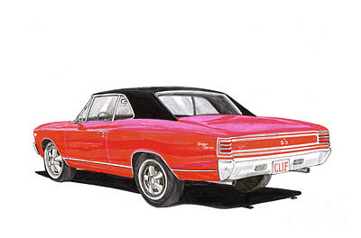 Painting - 1967 Chevelle S S 327 by Jack Pumphrey