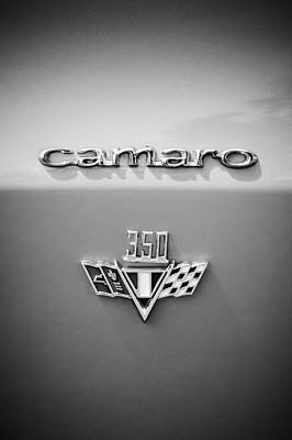 Photograph - 1967 Chevrolet Camaro 350 Emblem -0357bw2 by Jill Reger