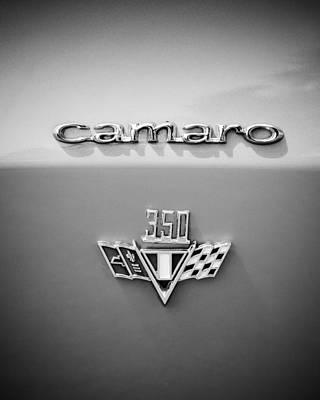 Photograph - 1967 Chevrolet Camaro 350 Emblem -0357bw45 by Jill Reger