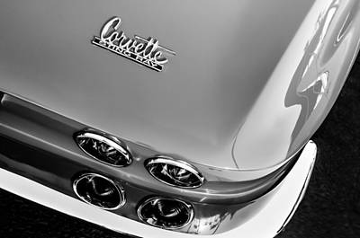 Photograph - 1967 Chevrolet Corvette Tail Light Emblem -0585bw by Jill Reger