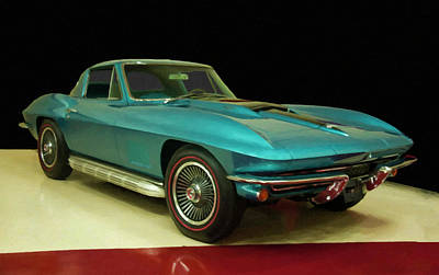 1967 Chevy Corvette Blue Digital Art Art Print
