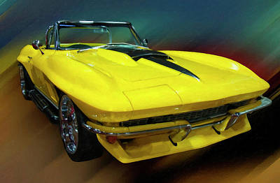 Painting - 1967 Chevy Corvette Convertible Yellow Digital Oil by Chris Flees